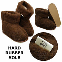 100% Sheep Wool Boots Cozy Foot Slippers Hard Sole Sheepskin Womens Mens Brown