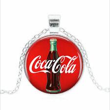 Retro Coke Sign Celestia Cabochon Glass Silver Chain Pendant Necklace