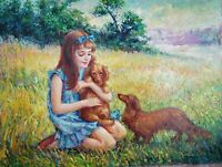 Dazzling oil painting by Mediros, beautiful red-haired girl with her sweet pets
