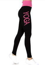 New YOGA Leggings Two Tone Pink Black Workout Fitness Pants Fold Over Waistband