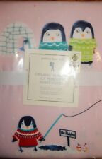 Pottery Barn Kids Organic Penguin Flannel Twin Duvet Cover Pink ADORABLE
