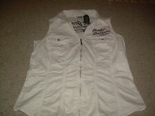 HARLEY DAVIDSON Motorcycles Embroidered Zip Front Shirt Vest L EUC FREE SHIP