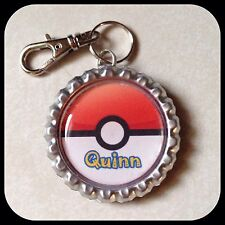 PERSONALIZED Name Pokemón GO Bottle Cap Pendant, Zipper Pull, Necklace Child ID