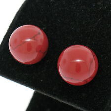 .925 Sterling Silver 10mm Round Red Coral Ball Stud Earrings Simple Studs