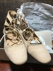 NWT Lace up Tie Up Ballet Flats Nude Suede Tan Suede Beige Women's Shoes Size 9