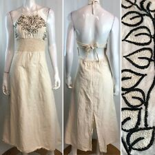 Vintage Maya Collection Embroidered Halter Fit Flare Open Back Maxi Dress Small