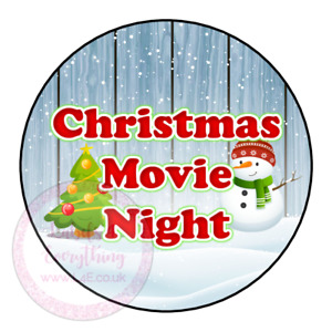 Christmas Movie Night Popcorn Family Film Cinema Sweet Cone Party Kids Labels
