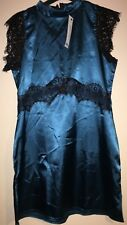 dress satin and lace size 14 petite, teal and black