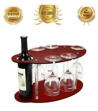 Mini Bar Movable Wine Stand Rack Holder Standing Hold 1 Bottle 5 Glasses Display
