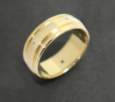 Men's 18K Solid Yellow Gold Diamond Set Ring Size 10