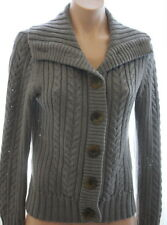 Sweet Romeo heather grey cable knit sweater w/ over-sized buttons and collar M