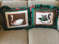 Vtg Holiday Sewn Set,Big Ruffle Handmade Goose Bird Pillows,Red,Green Plaid Lot