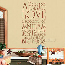 Recipe for Love Kitchen Vinyl Wall Sticker Decal Mural Quote Word Art Home Decor