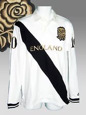New NIKE Vintage ENGLAND Cotton Rugby Shirt White Black Gold Rose Large L