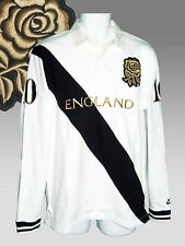 Nike Vintage England Cotton Rugby Shirt White Black Gold Rose Large L