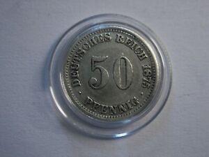 Kaiserreich  50 Pfennig  1875 J  Silber !!