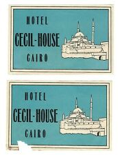 1900s HOTEL CECIL HOUSE Cairo EGYPT Luggage Label LOT 2 Art Deco Mosque Vintage