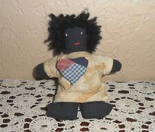 Hand Made Vintage Black Americana Rag Raggedy Doll, Folk Art Black Baby Doll