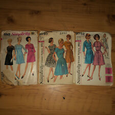Lot of 3 Vintage Sewing Patterns 50s 60s Larger Sizes 42 Bust 44� Simplicity Pat