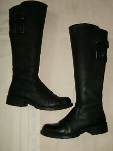 Size 5.5D Black Leather Zip Fastening Buckle Detail' CLARKS Knee High Boots VGC.