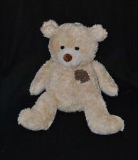 Peluche doudou ours NICOTOY beige yeux durs pièce brun marron 32 cm TTBE