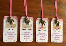 Unicorn 12 party favor tags gift tag with unicorn charm and silk ribbon