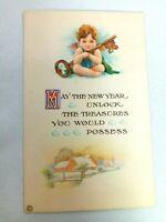 Vintage Postcard A Happy New Year Holiday Unlock the Treasures Baby Angel