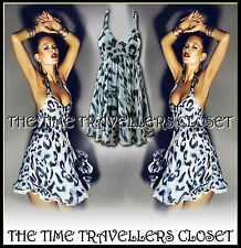 TOPSHOP Kate Moss Grey Halterneck Leopard Animal Chiffon 50s Retro Dress UK 14