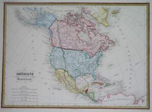 1856 NICE ORIGINAL MAP UNITED STATES CANADA TEXAS CALIFORNIA MEXICO NEW YORK