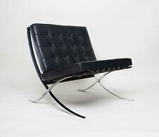 Original Knoll Mies Van Der Rohe Barcelona Chair Black Leather Mid Century