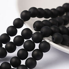 Strand 105+ 8mm Frosted Black Glass Plain Round Beads UK
