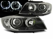 Headlights for BMW 3 Series E90 E91 05-08 LED Angel Eyes Black UK RHD/LHD LPBME4