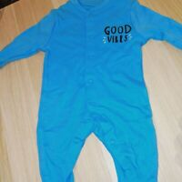 Blue Baby Sleepsuit 'Good vibes' Boy Baby Grow 10% cotton 0-3 Months