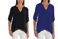 NEW FEVER LADIES' ROLL TAB SLEEVE BLOUSE - VARIETY