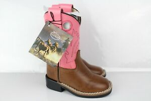 """Old West Kids Toddler 6"""" Square Toe Western Boots Tan Canyon/Pink BSI1839"""
