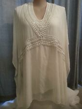 Autograph IVORY Beautifully Beaded + silver bead tie  Lined Kaftan Tunic top 24