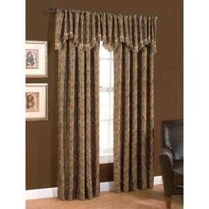 allen + roth Raja Polyester Standard Lined Back Tab Single Curtain Panel Mocha