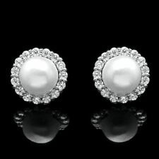 0.25CT Halo Created Diamond Pearl Earrings Solid 14k White Gold Flower Studs