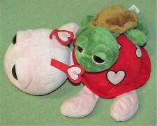 """Russ Berrie Applause TURTLE Plush Dreamy Big Eyed PINK Red Heart 16"""" SHECKY 10"""""""
