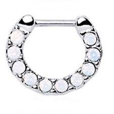 "Septum Nose Clicker Covered in Opalite White Gems 16 Gauge 5/16"" Steel Body Jew"