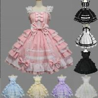 Lolita Womens Gothic Lace Bow Dolly Princess Dress Kawaii Maid Cosplay Costume