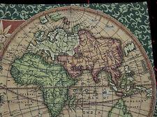 Wandteppich Gobelin Italy OLD MAP WELTKARTE ANTIK DESIGN GRÜN TAPESTERY 116 x 68