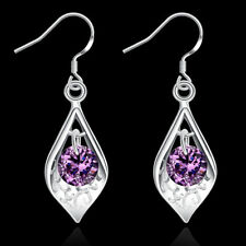 925 Sterling Silver Amethyst Ear Drop Earrings Womens Costume Jewellery