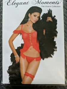 Lace Up Cami Top Ruffle Trim Off the Shoulder G-String Lingerie Set Red 8704