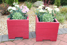 Pair Of 32cm Square Wooden Garden Planter Pot Painted in Valspar Red