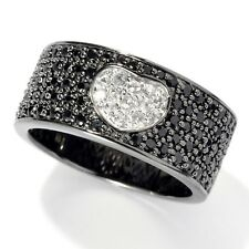 Black Rhodium o/ Silver 1.01ctw Black Spinel & White Sapphire Band Ring, Size 7