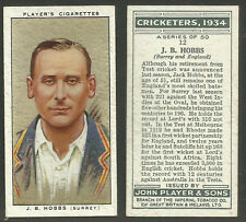 PLAYERS 1934 CRICKETERS J.B.HOBBS Card No 12 of 50 CRICKET CIGARETTE CARD