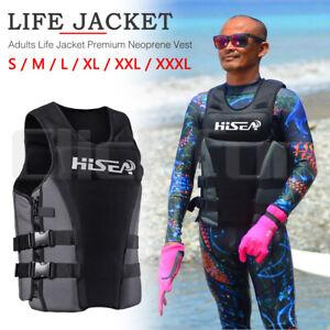 S-XXXL Premium Life Jacket Adults  Neoprene Vest Water Ski Wakeboard Grey