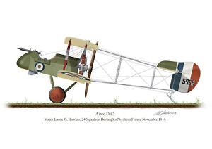 Airco DH2 Aircraft Profile Artwork Lanoe Hawker A4 A5 Glossy Print WW1 signed