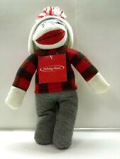 Sock Monkey Stuffed Animal Plaid Shirt Hat Huggable So Soft New with Tag Last 1
